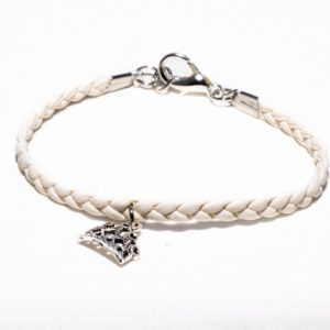 White leather bracelet with the crown pendant